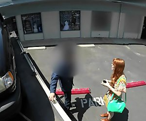 Teen redhead sucks a tow truck driver to get her car back