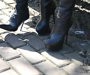 2 lesbian nude under burburry trench in crotchboots kissing