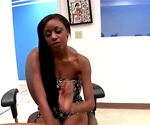 Ebony slut Gigi gives a hot titjob on a casting