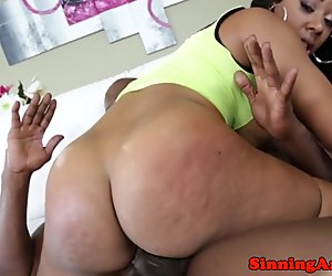 Sultry ebony babe assfucked by big black cock