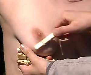 Outdoor bondage and clothespegs tit torment of busty submissive of Finland