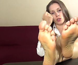 Secretary teases and taunts you with her bare feet and soles