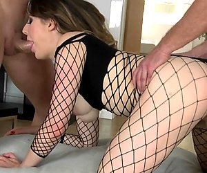 Samantha Bentley in slutty fishnets getting double penetration