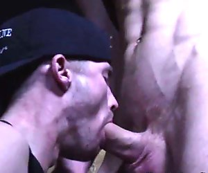 Rough bloke assfucked while tugging his cock