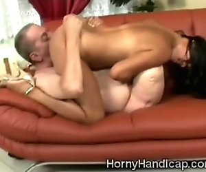 Horny hairy Latina brunette mounts a white cripple