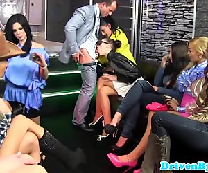 Group of WS fetish glamour sluts fuck dude in bar