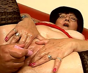 Lewd fat brunette mom gets her moist snatch tickled with vibrator