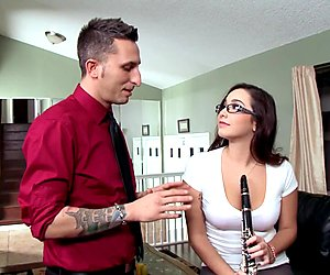 Naughty schoolgirl Karlee Grey fucks her music teacher