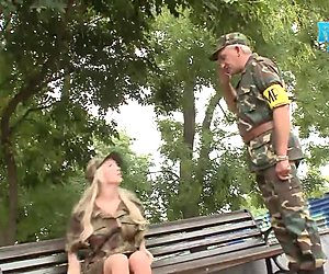 Hot Army Babe Stands At Attention