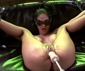 Tied Jasmine Caro rammed deep by a fucking machine