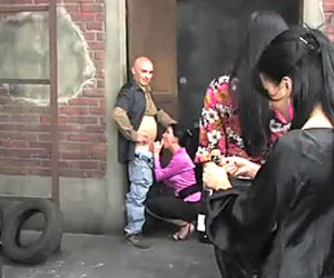 Insatiable sluts get their cock sucking skills tested by homeless men