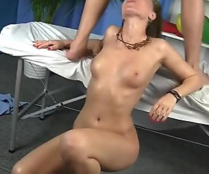 Naked rapacious chick gives a deepthroat to her masseur