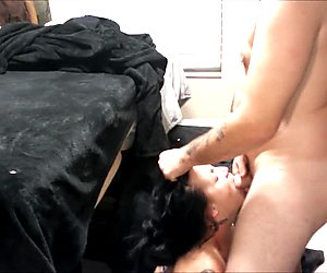 I deepthroat his cock & he cums on my face, fucks me & cums on my stomach
