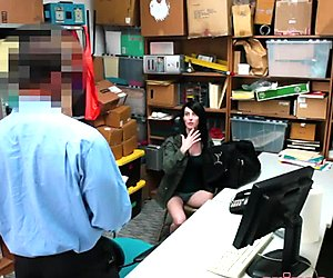 Teen shoplifter Alex Harper getting her throat fucked hard