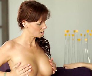 Busty MILF mom teaching hot babe how to suck BF hard cock