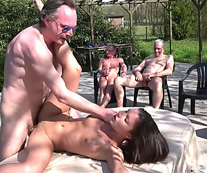 Anita Bellini gang banged by 8 old horny cock