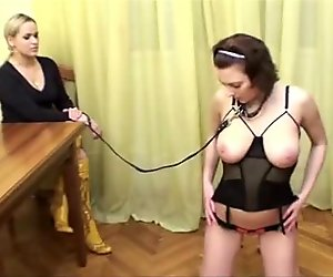 Special naked training for busty lady