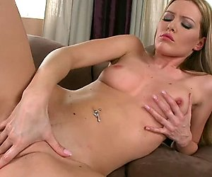 Horny Sophie Moone finger bangs herself in her smooth pussy