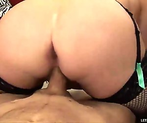 Chubby chick sits her fat pussy on a strong dick