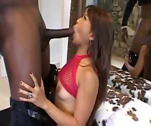 Frail Asian chick fucked with a big black cock