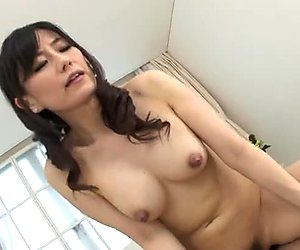 Salty Japanese hoe Manami Komukai gives a head before riding stiff penis