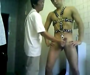 Chained Up Twink Bathroom Cum