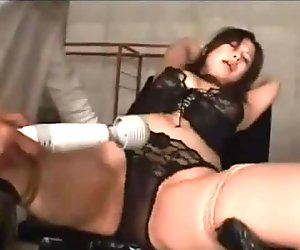Tied Asian Toyed In Black Lace