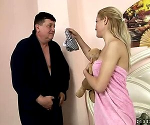 Arousing blond mistress gets her pussy eaten by kinky sugar uncle