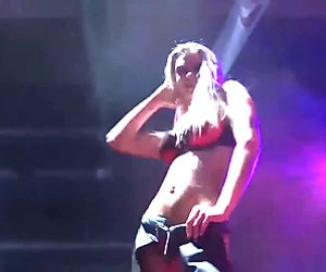 busty blonde orgasm on public stage
