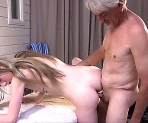 Teen sucks old man cock gets fucked and swallows cum