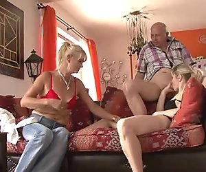 His old mom and dad envolve her into dirty sex