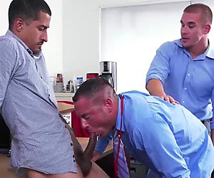 Horny boss relaxing and waching two hunks fucking hard